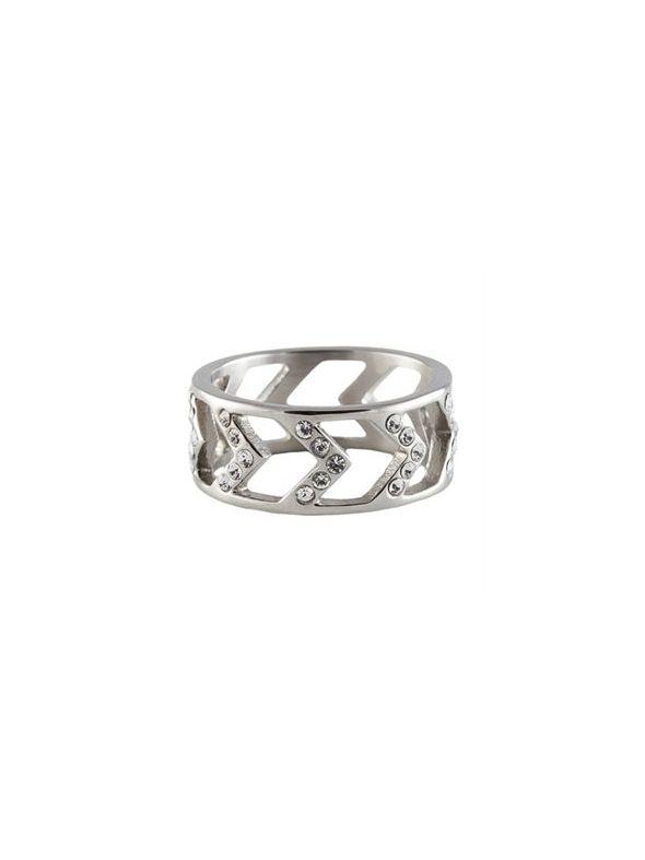 Silver Chevron Ring - Size 6